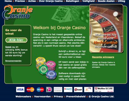 Oranje casino hompage